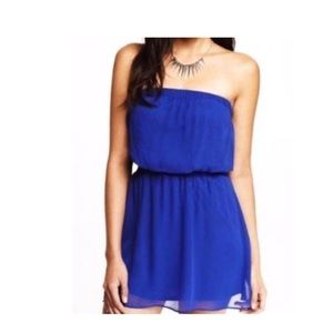 Express Chiffon Strapless Royal Blue Lined Dress
